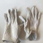 Cotton/leather Cream Ladies Riding Gloves